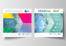 Business templates for square design brochure, magazine, flyer, booklet. Leaflet cover, flat layout, easy editable blank Stock Photos