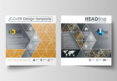 Business templates for square design brochure, magazine, flyer, booklet. Leaflet cover, flat layout. Golden technology Stock Photo