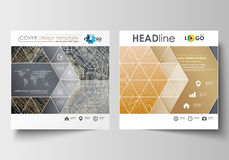 Business templates for square design brochure, magazine, flyer, booklet. Leaflet cover, flat layout. Golden technology Royalty Free Stock Images