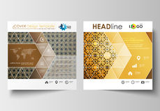 Business templates for square design brochure, magazine, flyer, booklet. Leaflet cover, flat layout. Islamic gold Stock Image