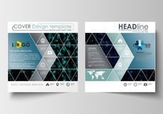Business templates for square design brochure, magazine, flyer, booklet. Leaflet cover, flat layout. Virtual reality Royalty Free Stock Photo