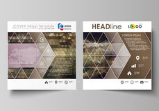 Business templates for square design brochure, magazine, flyer, booklet or report. Leaflet cover, vector layout. Business templates for square design brochure Stock Photos
