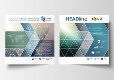 Business templates for square design brochure, magazine, flyer, booklet, report. Leaflet cover, vector layout. Chemistry Stock Images