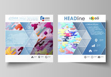 Business templates for square design brochure, magazine, flyer. Leaflet cover, abstract vector layout. Colorful Stock Photos