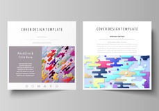 Business templates for square design brochure, magazine, flyer. Leaflet cover, abstract vector layout. Colorful Stock Images