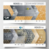 Business templates for square design brochure, magazine, flyer. Leaflet cover, flat layout. Golden technology background Stock Photography