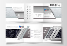 Business templates for square tri fold brochures. Leaflet cover, flat layout, easy editable vector. High tech design. Connecting system. Science and technology royalty free illustration