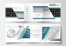 Business templates for square tri fold brochures. Leaflet cover, flat layout, easy editable vector. High tech design Stock Images