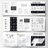 Business templates for square tri fold brochures. Leaflet cover, flat layout, easy editable vector. High tech design Royalty Free Stock Photography