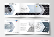 Business templates for square tri fold brochures. Leaflet cover, flat layout, easy editable vector. High tech design. Connecting system. Science and technology vector illustration