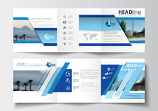 Business templates for tri-fold brochures, square design, annual report.  Stock Image