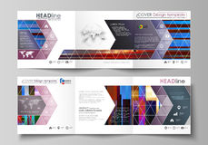 Business templates for tri fold brochures. Square design. Leaflet cover, abstract vector layout. Glitched background Stock Photography