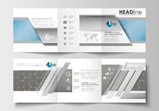 Business templates for tri-fold square brochures. Leaflet cover, abstract flat layout. Scientific medical research Stock Images