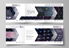 Business templates, tri fold square brochures. Leaflet cover, vector layout. Abstract colorful neon dots, dotted Royalty Free Stock Photography
