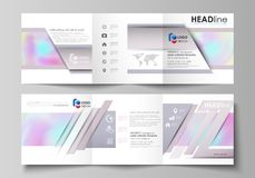 Business templates for tri fold square design brochures.. Leaflet cover, abstract vector layout. Hologram, background in pastel colors, holographic effect Stock Photos