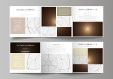 Business templates for tri fold square design brochures. Leaflet cover, abstract vector layout. Alchemical theme Stock Image