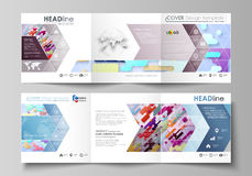 Business templates for tri fold square design brochures. Leaflet cover, abstract vector layout. Bright color lines and. Set of business templates for tri fold Stock Photos