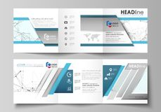 Business templates for tri fold square design brochures. Leaflet cover, abstract vector layout. Chemistry pattern. Connecting lines and dots, molecule Stock Photos