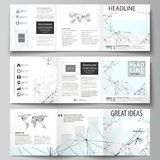 Business templates for tri fold square design brochures. Leaflet cover, abstract vector layout. Chemistry pattern. Set of business templates for tri fold square Royalty Free Stock Image