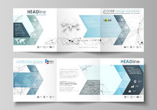 Business templates for tri fold square design brochures. Leaflet cover, abstract vector layout. Chemistry pattern. Set of business templates for tri fold square Stock Photos
