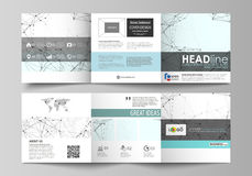 Business templates for tri fold square design brochures. Leaflet cover, abstract vector layout. Chemistry pattern. Set of business templates for tri fold square Stock Images