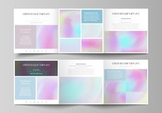 Business templates for tri fold square design brochures. Leaflet cover, abstract vector layout. Hologram, background in. Set of business templates for tri fold Royalty Free Stock Photos
