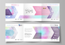 Business templates for tri fold square design brochures. Leaflet cover, abstract vector layout. Hologram, background in. Set of business templates for tri fold Royalty Free Stock Images