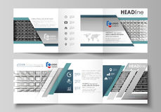 Business templates for tri fold square design brochures. Leaflet cover, vector layout. Abstract infinity background, 3d. Set of business templates for tri fold stock illustration