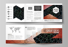 Business templates for tri fold square design brochures. Leaflet cover, vector layout. Chemistry pattern, molecular. Set of business templates for tri fold Royalty Free Stock Photo