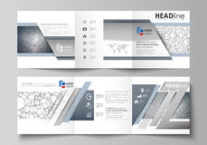 Business templates for tri fold square design brochures. Leaflet cover, vector layout. Chemistry pattern, molecular. Set of business templates for tri fold Royalty Free Stock Photography