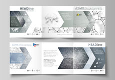Business templates for tri fold square design brochures. Leaflet cover, vector layout. Chemistry pattern, molecular. Set of business templates for tri fold Stock Image