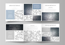 Business templates for tri fold square design brochures. Leaflet cover, vector layout. Chemistry pattern, molecular. Set of business templates for tri fold Royalty Free Stock Image