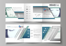 Business templates for tri fold square design brochures. Leaflet cover, vector layout. Halftone dotted background, retro Royalty Free Stock Images