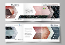 Business templates for tri fold square design brochures. Leaflet cover, vector layout.. Set of business templates for tri fold square design brochures. Leaflet Royalty Free Stock Photography