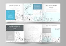 Business templates for tri fold square design brochures.. Set of business templates for tri fold square design brochures. Leaflet cover, abstract flat layout Royalty Free Stock Photos