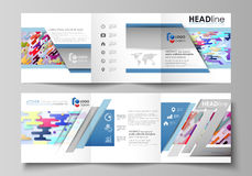 Business templates for tri fold square design brochures. Set of business templates for tri fold square design brochures. Leaflet cover, abstract flat layout Stock Photo