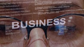 Business text on background of female developer stock footage