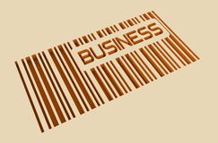 Business text and bar code on concrete wall Royalty Free Stock Photos