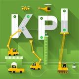 Business Text. Construction site crane building KPI text, Vector illustration template design Stock Photos