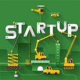 Business Text. Construction site crane building Startup text, Vector illustration template design Stock Images
