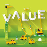 Business Text. Construction site crane building Value text, Vector illustration template design Stock Image
