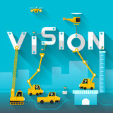 Business Text. Construction site crane building Vision text, Vector illustration template design Stock Images