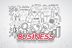 Business text, With creative drawing charts and graphs business success strategy plan idea, Inspiration concept modern design temp. Late workflow layout, diagram Royalty Free Stock Photography