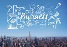 Business text with drawings graphics Stock Photo