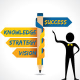 Business texts and success arrow in opposite of pe. Ncil vector Stock Image
