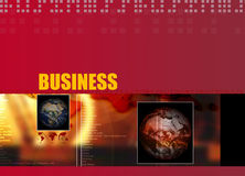 Business theme 004. Business Layout with business text and different region globes 004 Stock Photo