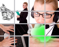 Business theme. Collection by money, technology and businesswoman stock photography