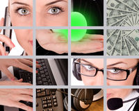 Business theme. Collection by money, technology and businesswoman royalty free stock images