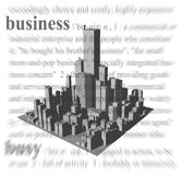 Business Theme. A rendering of a crowded downtown area with a business theme Royalty Free Stock Photos