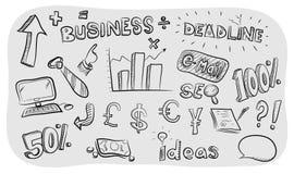Business Theme Doodle Set Stock Photo